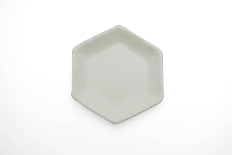 六角豆皿 ホワイト